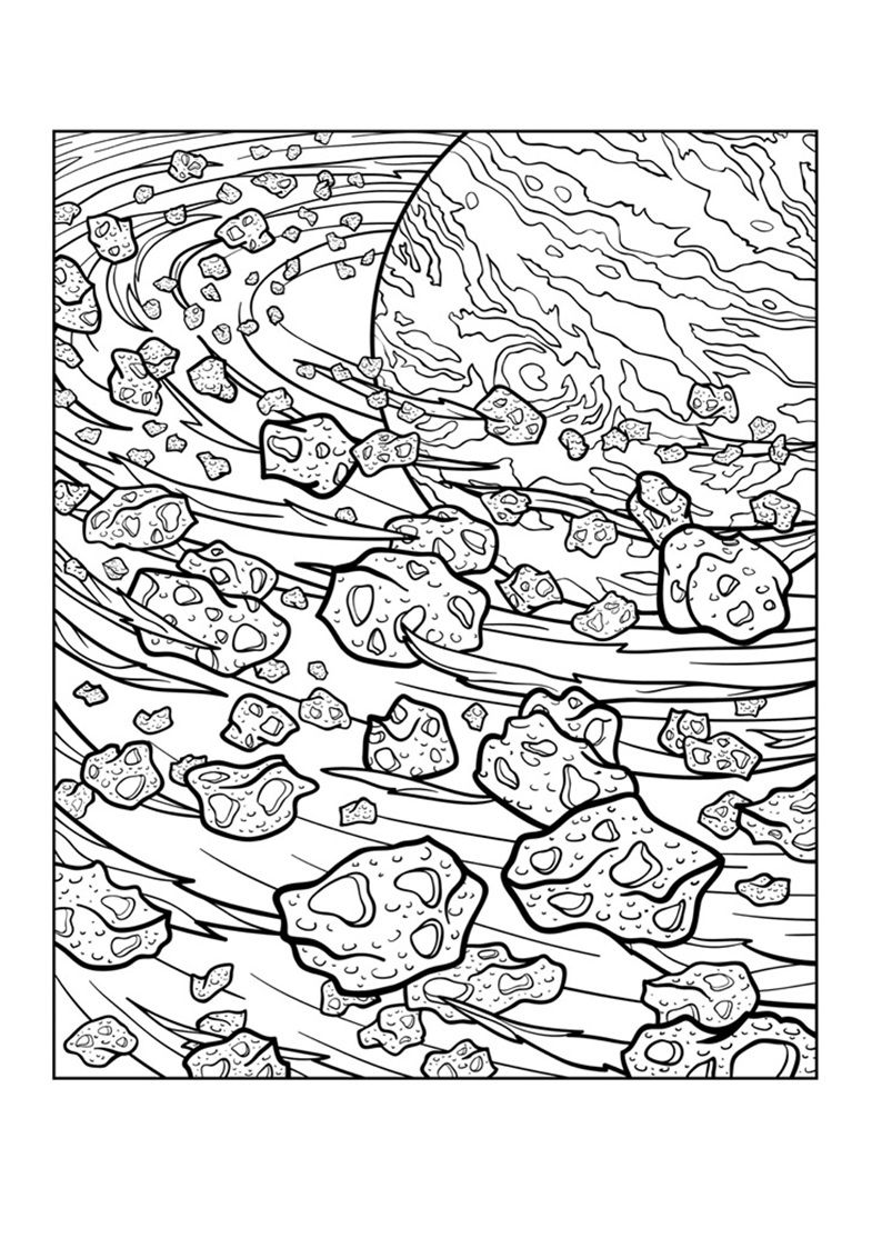 This is a graphic of Candid Space Coloring Pages For Adults
