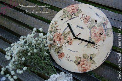часы интерьерные Ностальгия в технике декупаж - бледно-розовый,часы декупаж