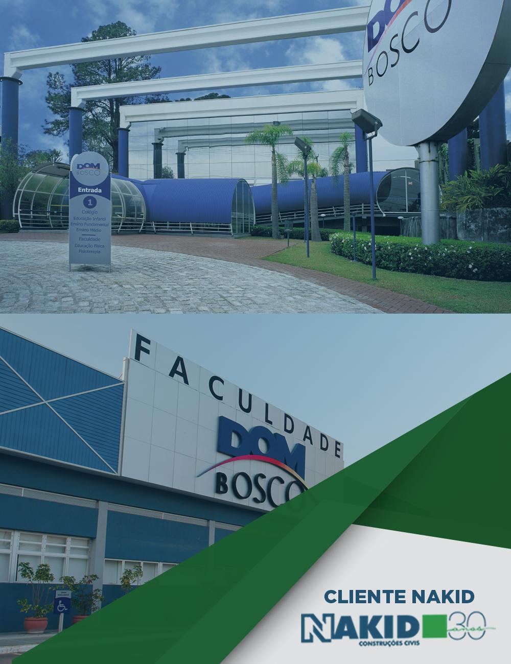 Você sabia que os dois campus da Faculdade Dom Bosco são construções Nakid? Localizadas nos bairros Guaíra e Mercês, os espaços possuem uma infraestrutura inovadora para o desenvolvimento acadêmico. Acesse nosso site e conheça nosso portfolio: www.nakid.com.br.