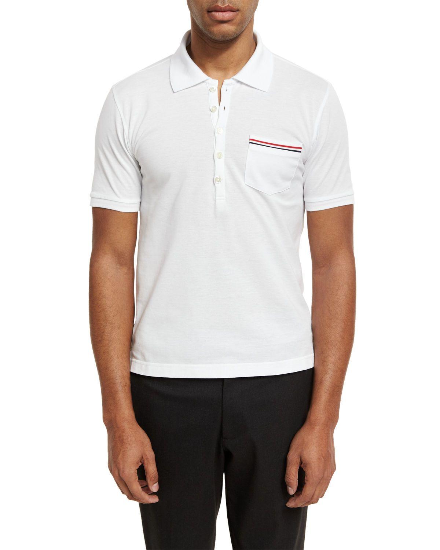 Heather polo shirt with striped pocket thom browne polo shirts
