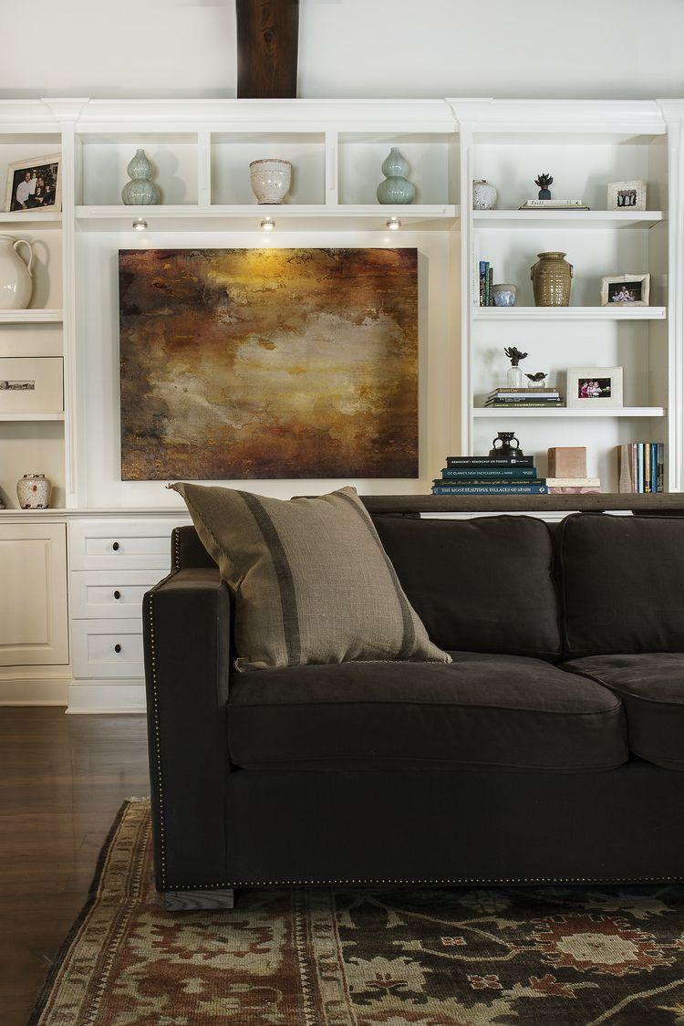 Living room inspiration. Chocolate sofa. Bookshelves styling. Design // Austin Bean Design Studio Photography // Melissa Lukenbaugh