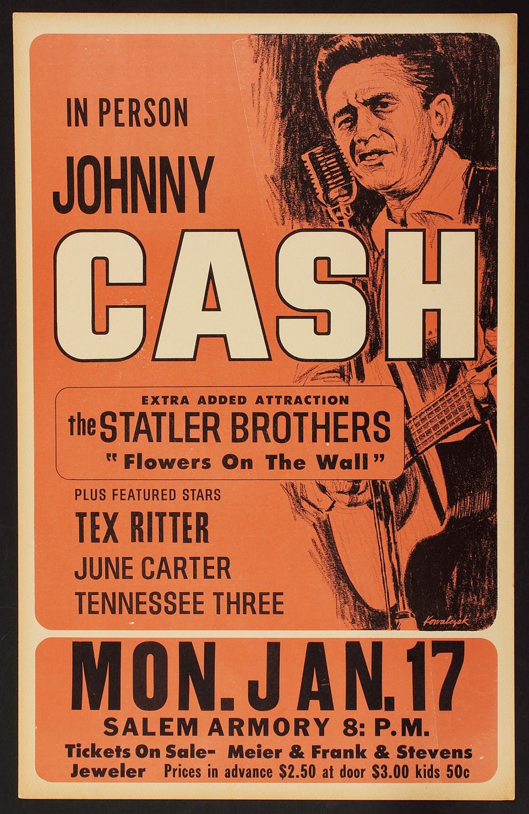 From eBay: photographic reproduction of a concert poster. | Music concert  posters, Johnny cash, Concert posters