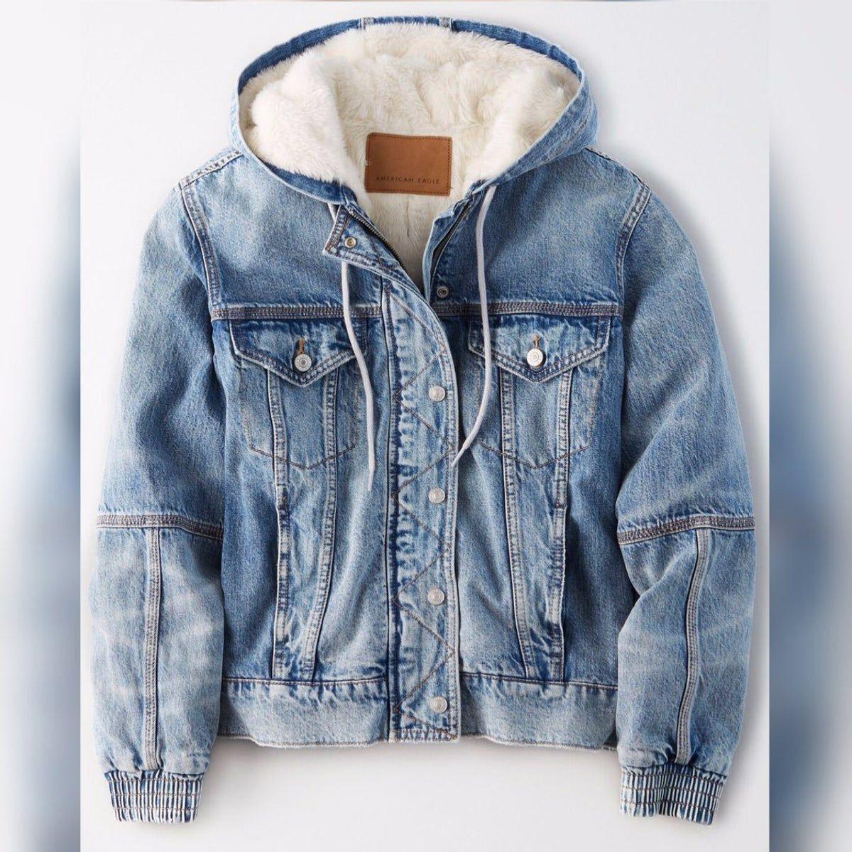 Jean Jacket Hooded Denim Jacket Sherpa Lined Denim Jacket Winter Jacket Outfits [ 1200 x 1200 Pixel ]