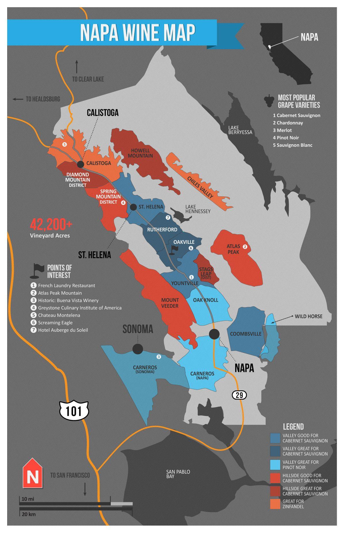 USA California North Coast Wine Map Napa valley map Wine folly