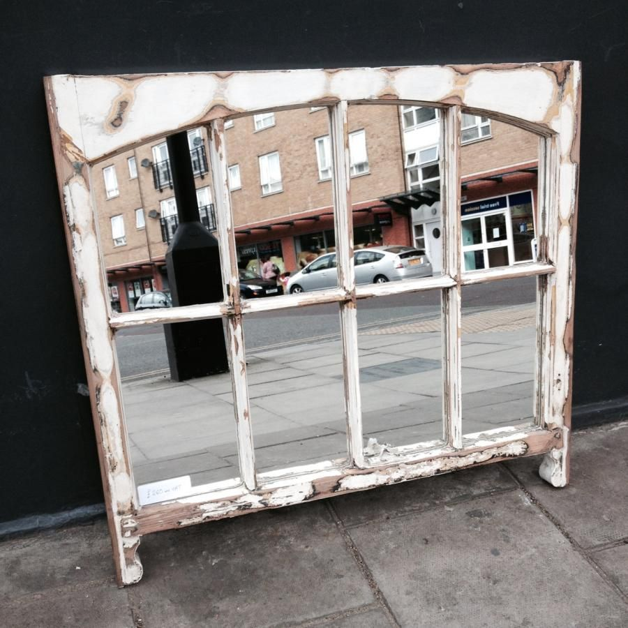 Reclaimed sash window mirror crafted from an antique six pane window frame. - Reclaimed Sash Window Mirror Crafted From An Antique Six Pane Window