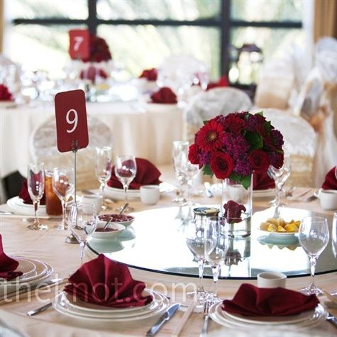 Red and silver wedding reception