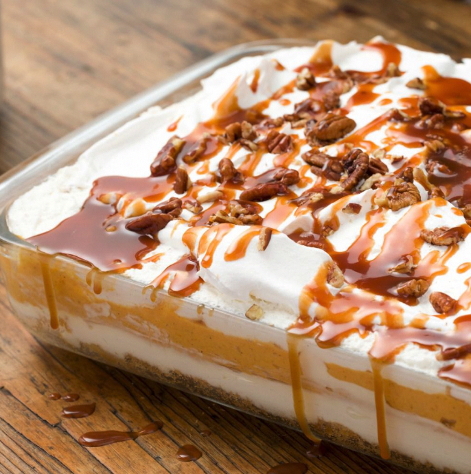 This no-bake pumpkin cheesecake lasagna is all you'll be making from Halloween to Thanksgiving. Get the recipe at .