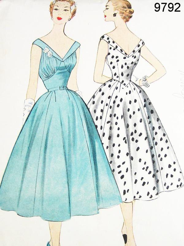 McCalls Dress Pattern 9792 - Vtg 1950s Misses' Coctail or Day Dress - SZ 14/Bust 32. $60.00, via Etsy.