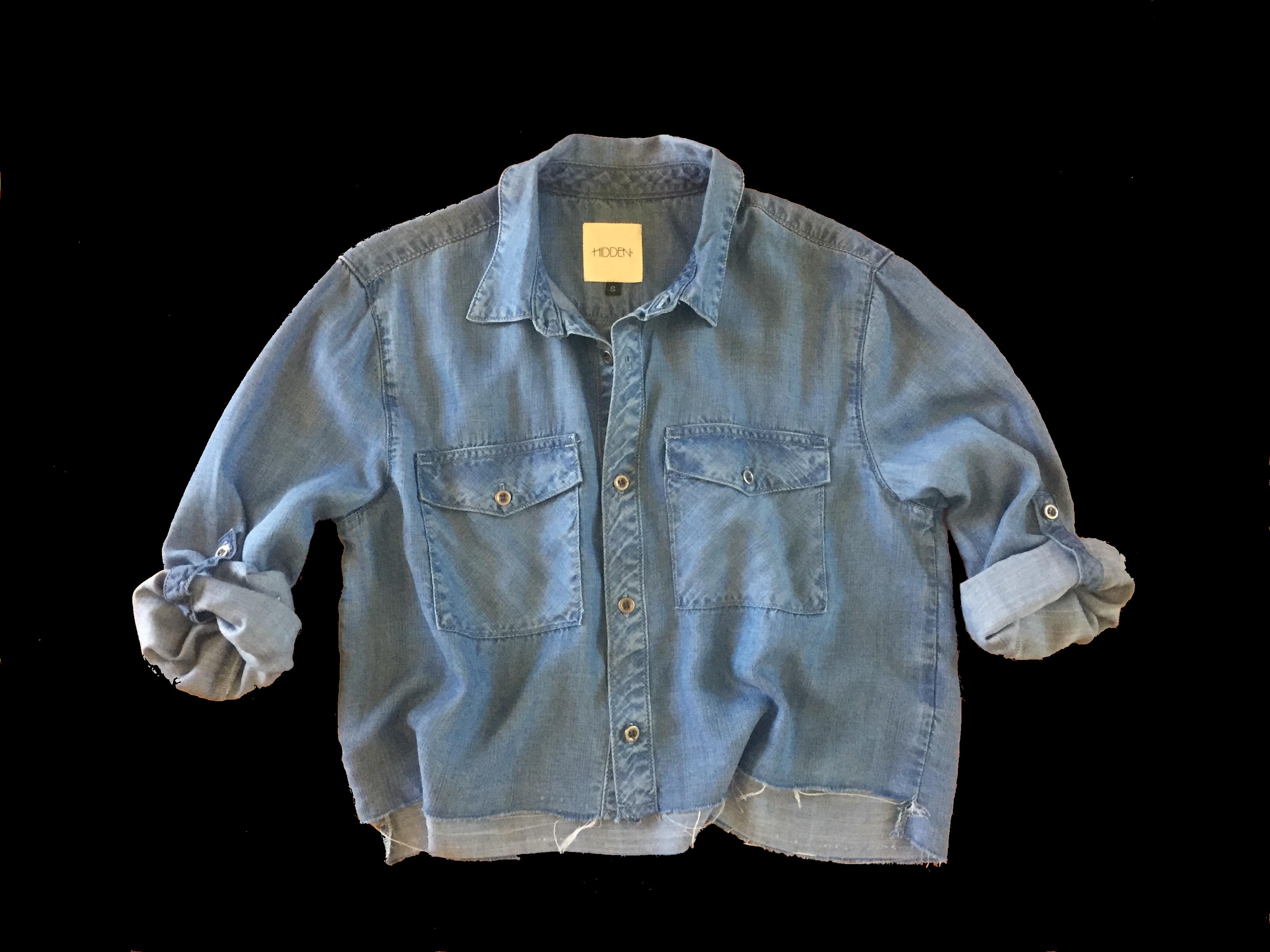 66c579e7 Cropped Denim Shirt by Hidden Jeans | Products | Denim Shirt, Denim ...
