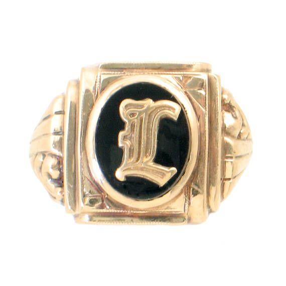 Reserved Vintage Men S Signet Ring In 10k Gold And Black Etsy Signet Ring Men Signet Ring Monogram Ring