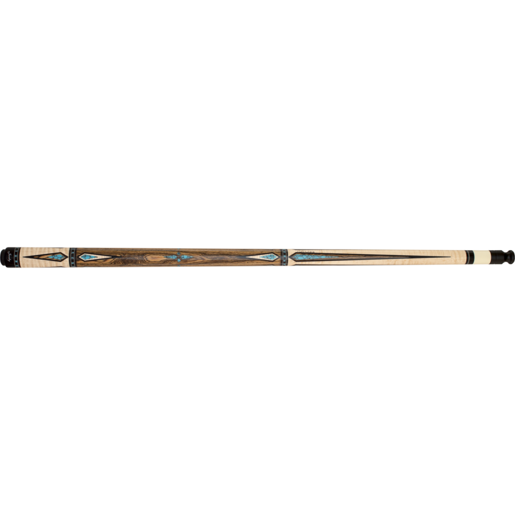 Jacoby Pool Cues, HB7, Bacote With Tiger Stripe Maple, Low