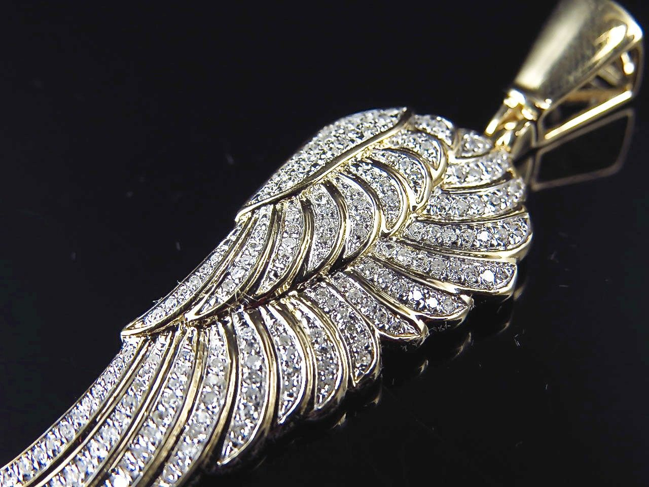 10k Yellow Gold Genuine Diamond Angel Wing Pendant 0 60ct 2 0 Diamond Angel Wings Angel Wing Pendant Pendant