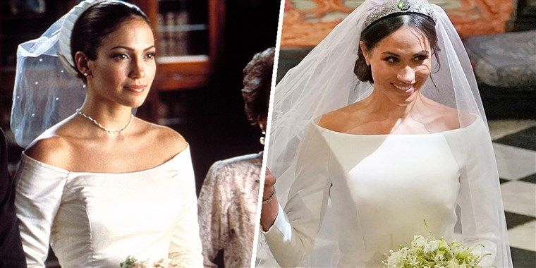 Meghan Markle S Dress Looked Like J Lo S From The Wedding Planner Meghan Markle Wedding Dress Movie Wedding Dresses Bridal Wedding Dresses