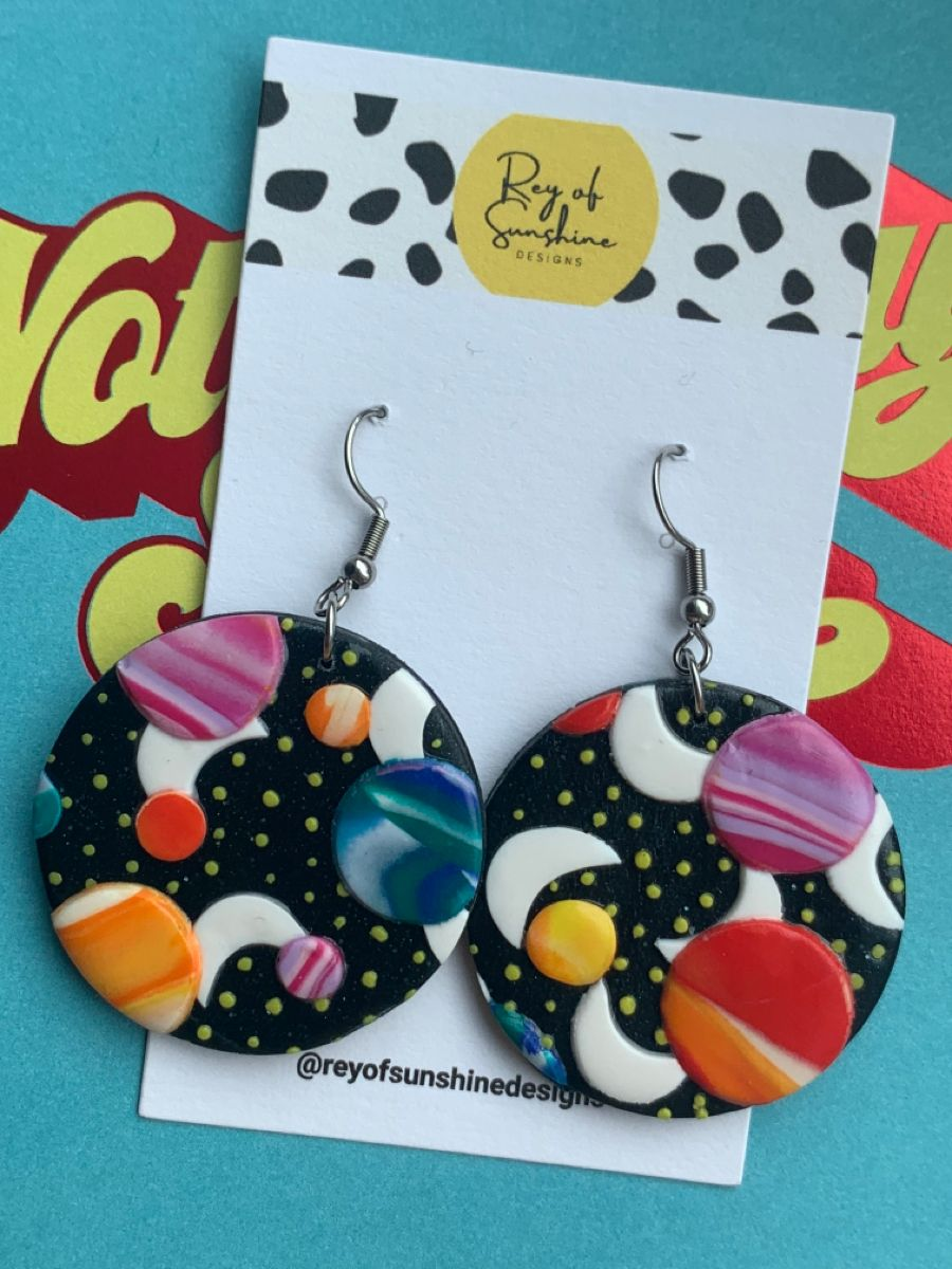 Space Earrings Made From Polymer Clay In 2020 Polymer Clay Beads Clay Crafts Polymer Clay Crafts