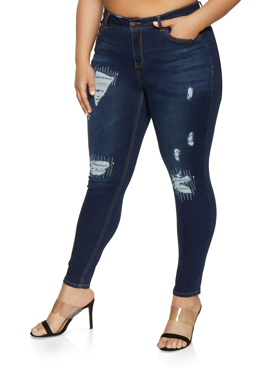 f5c22d563cb6d8 Plus Size WAX Rip and Repair Skinny Jeans - Blue - Size 16 in 2019 ...