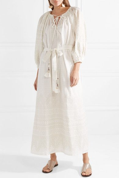 Discount Pick A Best Best Selling Offrande Tasseled Printed Cotton-voile Midi Dress - Ivory Mes Demoiselles... Sale Footlocker y6EKQUxh
