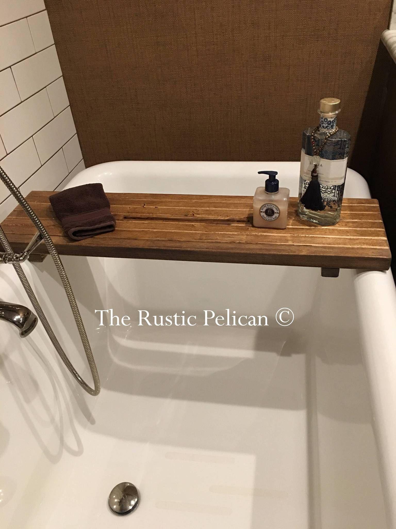 Rustic Wood Bathtub Tray Bath Caddy Bathtub Tray Wood Bathtub Bath Caddy