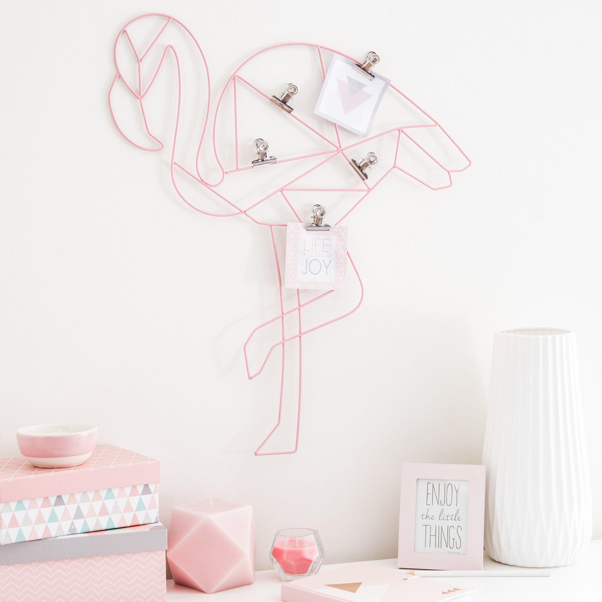 Pinza de fotos de metal rosa x cm flamingo maisons du monde