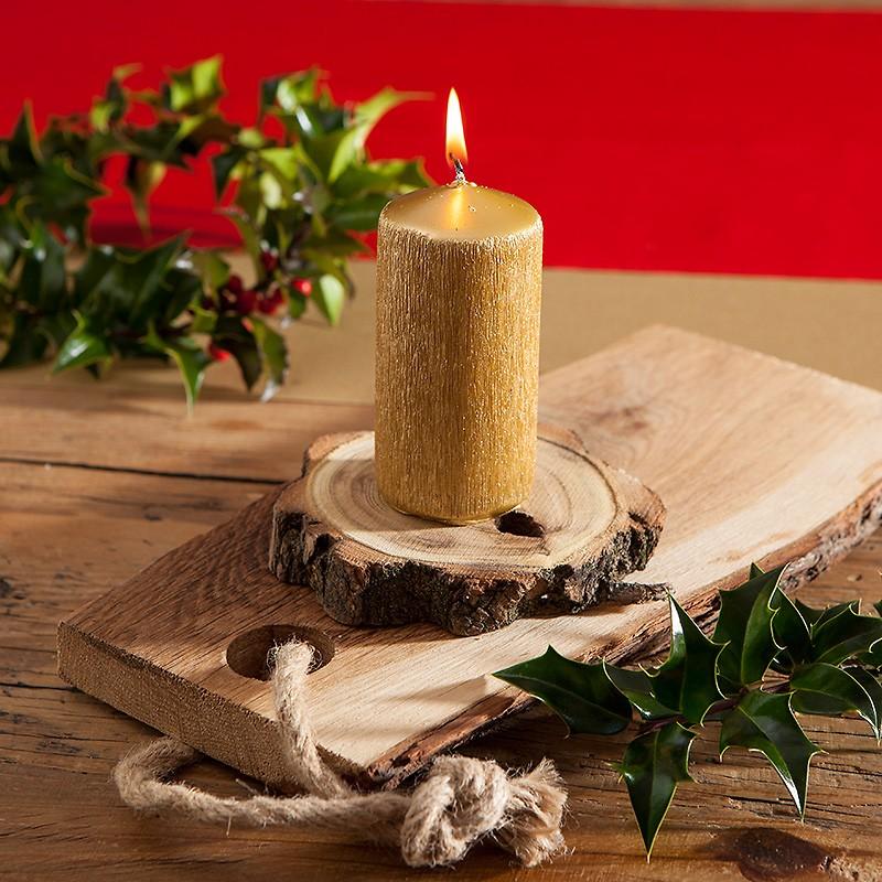 Swieca Swiateczna Pienkowa Elegancki Polysk Lux 11x5cm Zlota Candles Pillar Candles Taper Candle