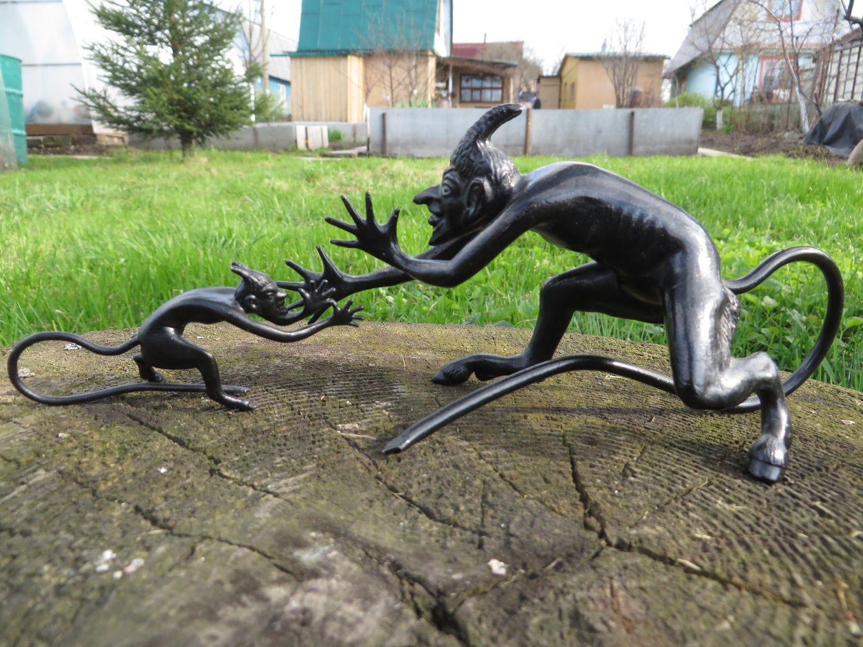 KASLI CAST IRON Figurine Sculpture Statue BIG DEVIL