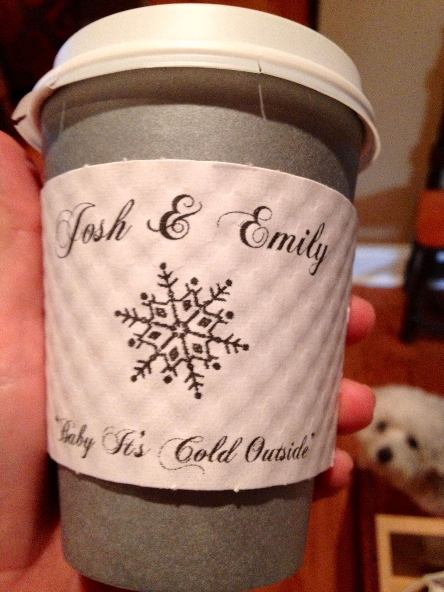 personalized coffee cup sleeves for a winter wedding | winter ...