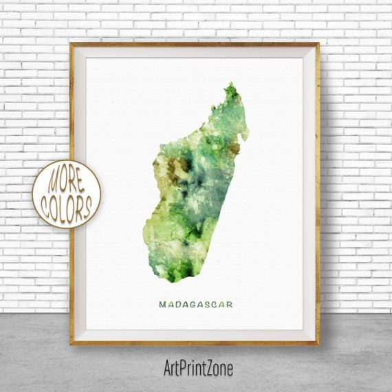 Madagascar Art Watercolor Map Office Wall Decor Living Room Print Zone