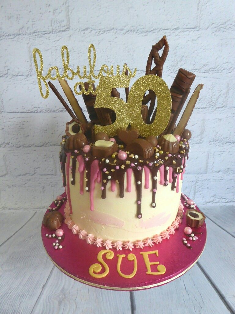 Yummy Chocolate Drip Cake To Celebrate A 50th Birthday In