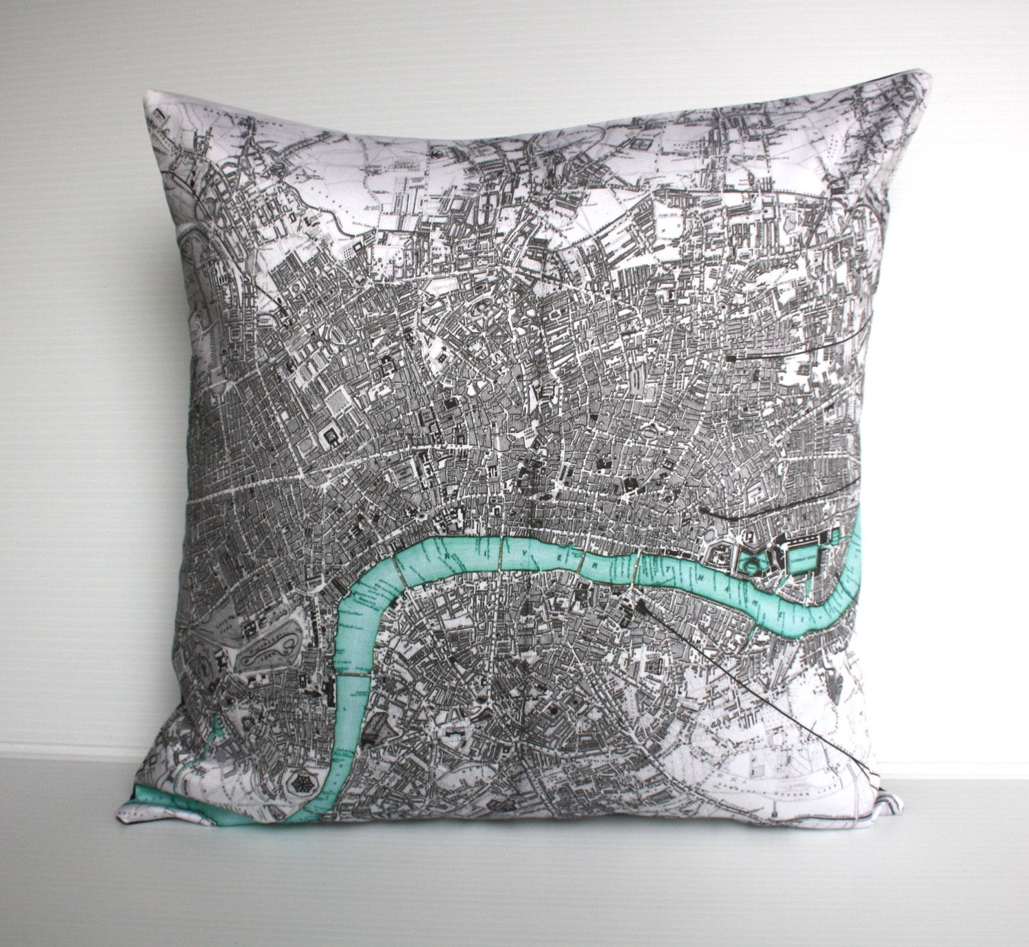 Vintage map print pillow london organic cotton map inch cushion