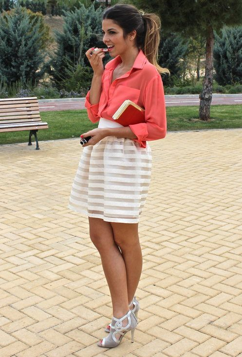Coral+Nude  , Menbur in Ankle Boots / Booties, Queens Wardrobe in Shirt / Blouses, Menbur in Clutches