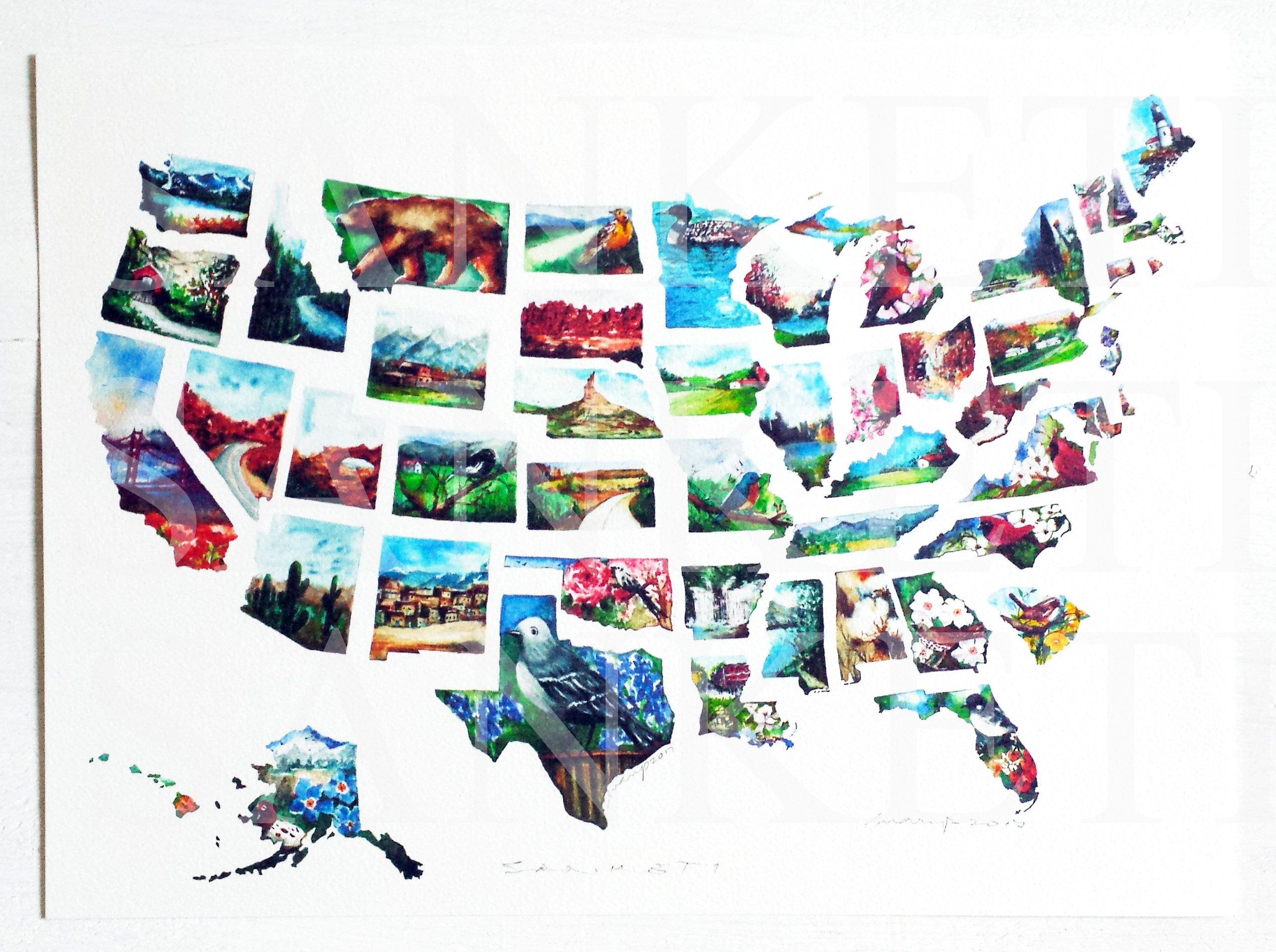 USA Map X Art Print Watercolor US Map USA Map With States - Watercolor us map