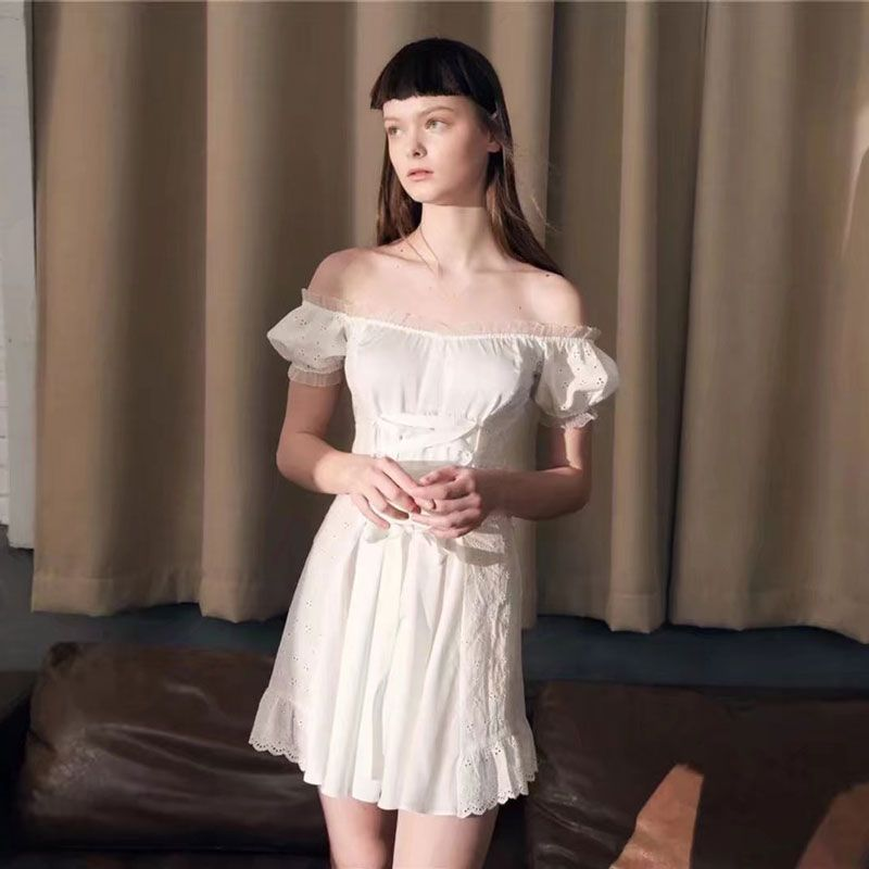 2018 Summer Dress bella hadid white Beach dress Slash Neck Ruffles Lace  elegant Dresses off Shoulder A line Party dress boho The Buddy Shoppe  Price    FREE ... edba4d5ad752
