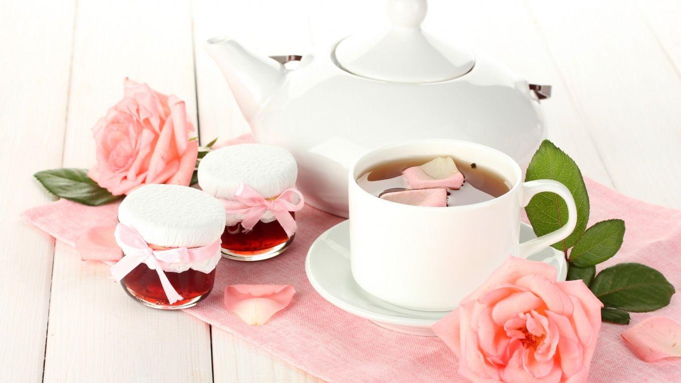 Скачать обои белый, листья, цветы, чай, розы, лепестки ...