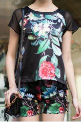 Vintage Scoop Neck Short Sleeves Floral Print Blouse and Shorts Suit For Women