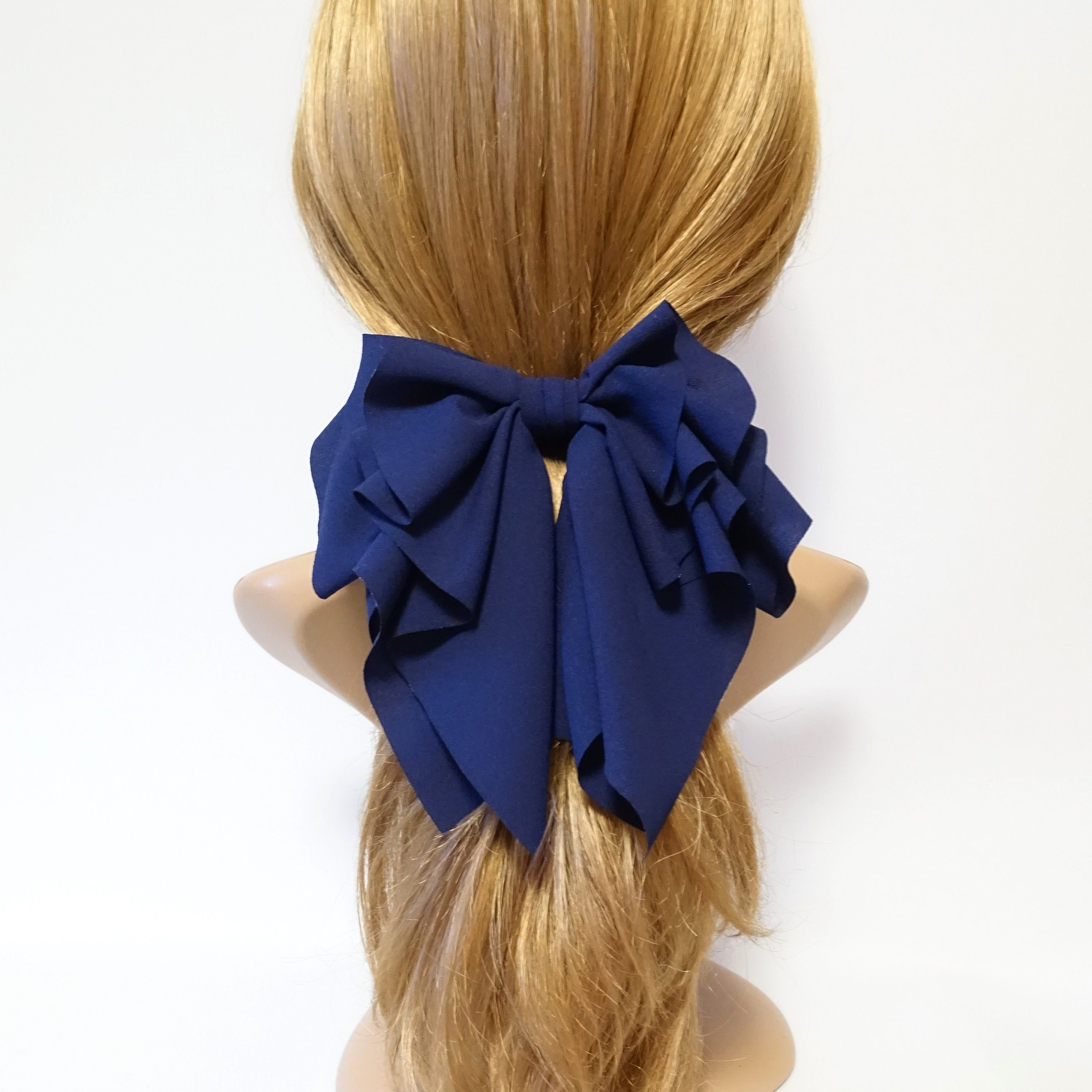 chiffon layer pleated hair bow droopy woman hair accessory french barrette