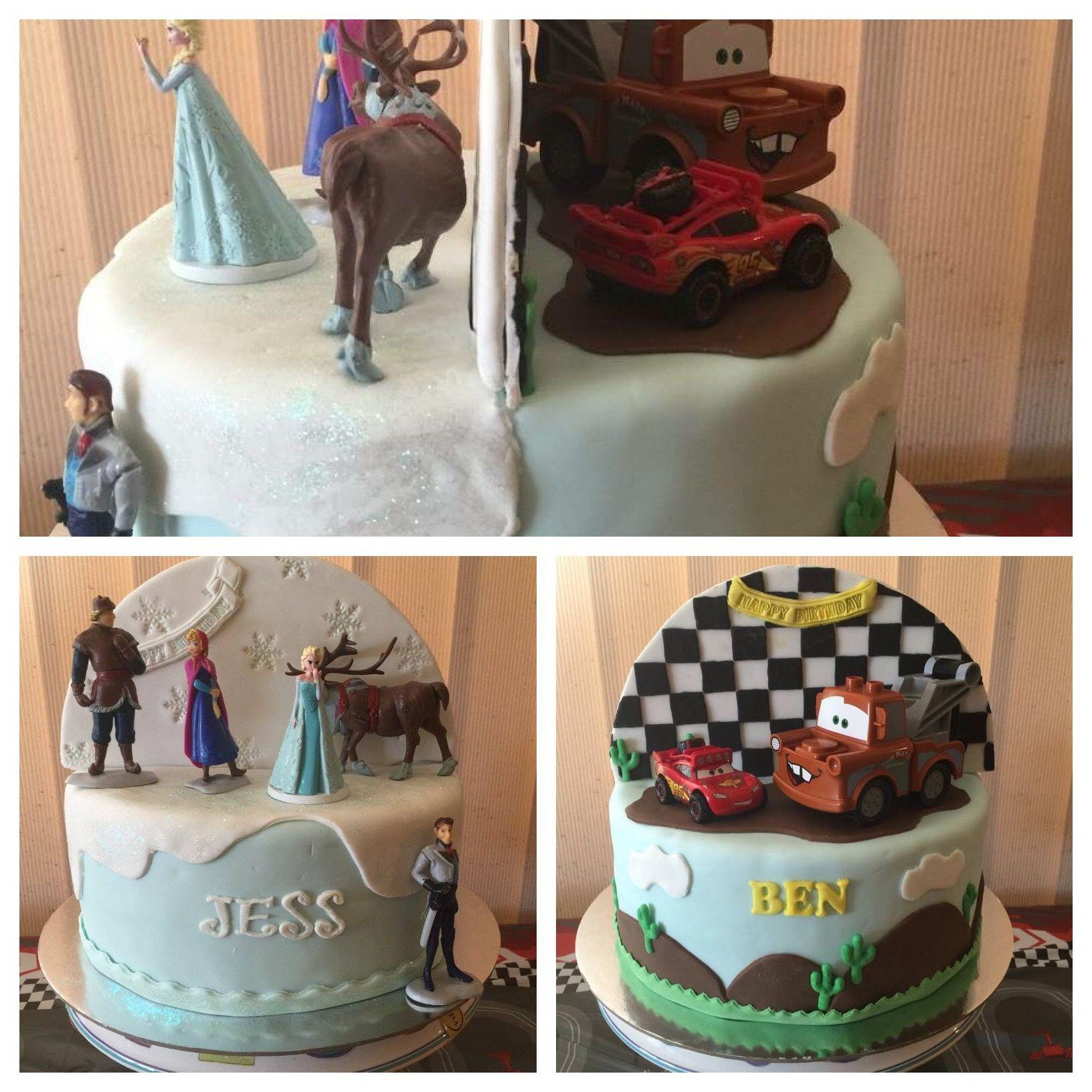 Split Cake For Twins Cars Birthday Cake Frozen Birthday
