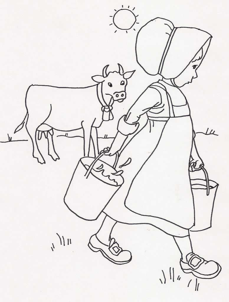 Girl W Milk In Pail From Milking Cow Coloring Books Hand