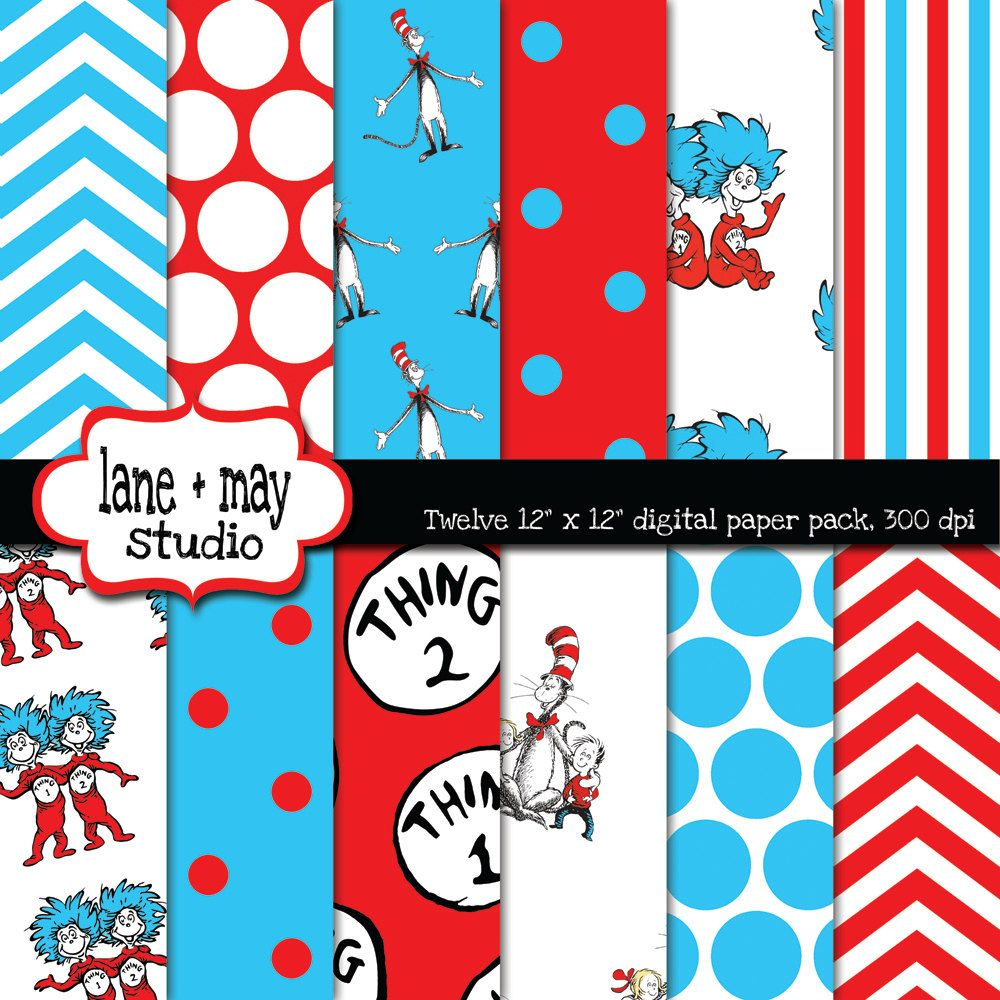 Scrapbook paper disney - Thing One And Thing Two Decorations Thing 1 And Thing 2 Digital Scrapbook Papers By