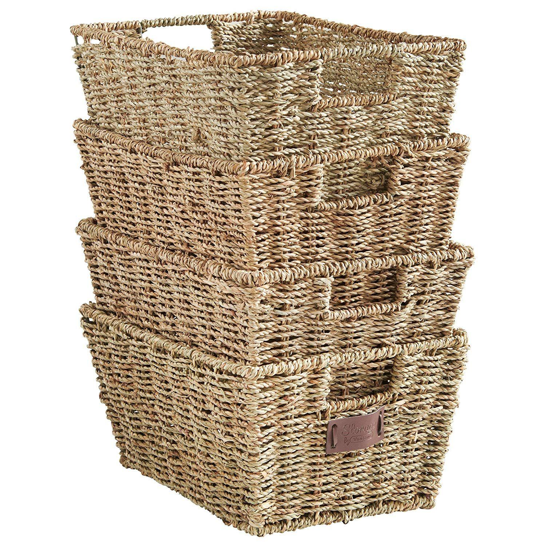 Amazon Com Vonhaus Set Of 4 Seagrass Storage Baskets With Insert