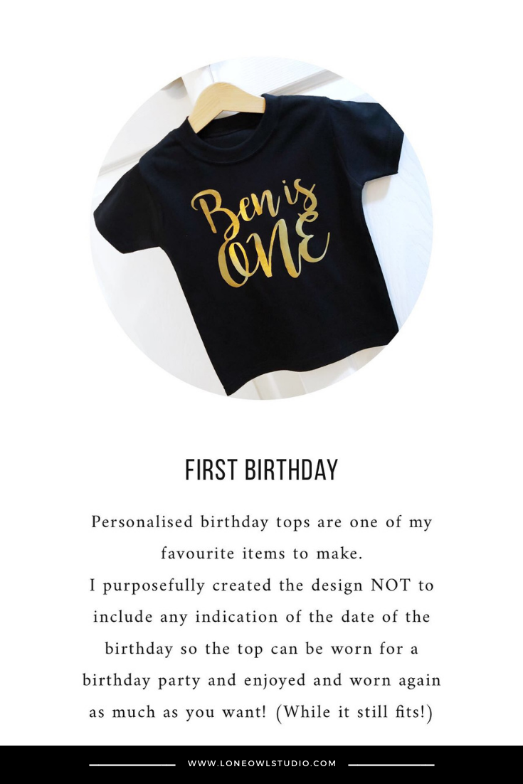 db94bb1ee480f Personalised First Birthday Shirt - Gold Name is ONE, Cake Smash ...
