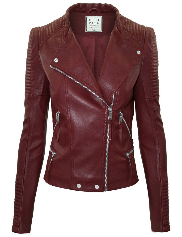 1076573209 ... PU - Machine wash warm, do not bleach, do not iron, tumble dry with  medium heat. - A cropped silhouette puts a feminine finish on a moto-inspired  jacket ...