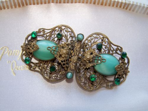 VINTAGE-ART-DECO-JEWELLERY-CZECH-FILIGREE-BUCKLE-CONVERTED-BROOCH-PIN-MAX-NEIGER