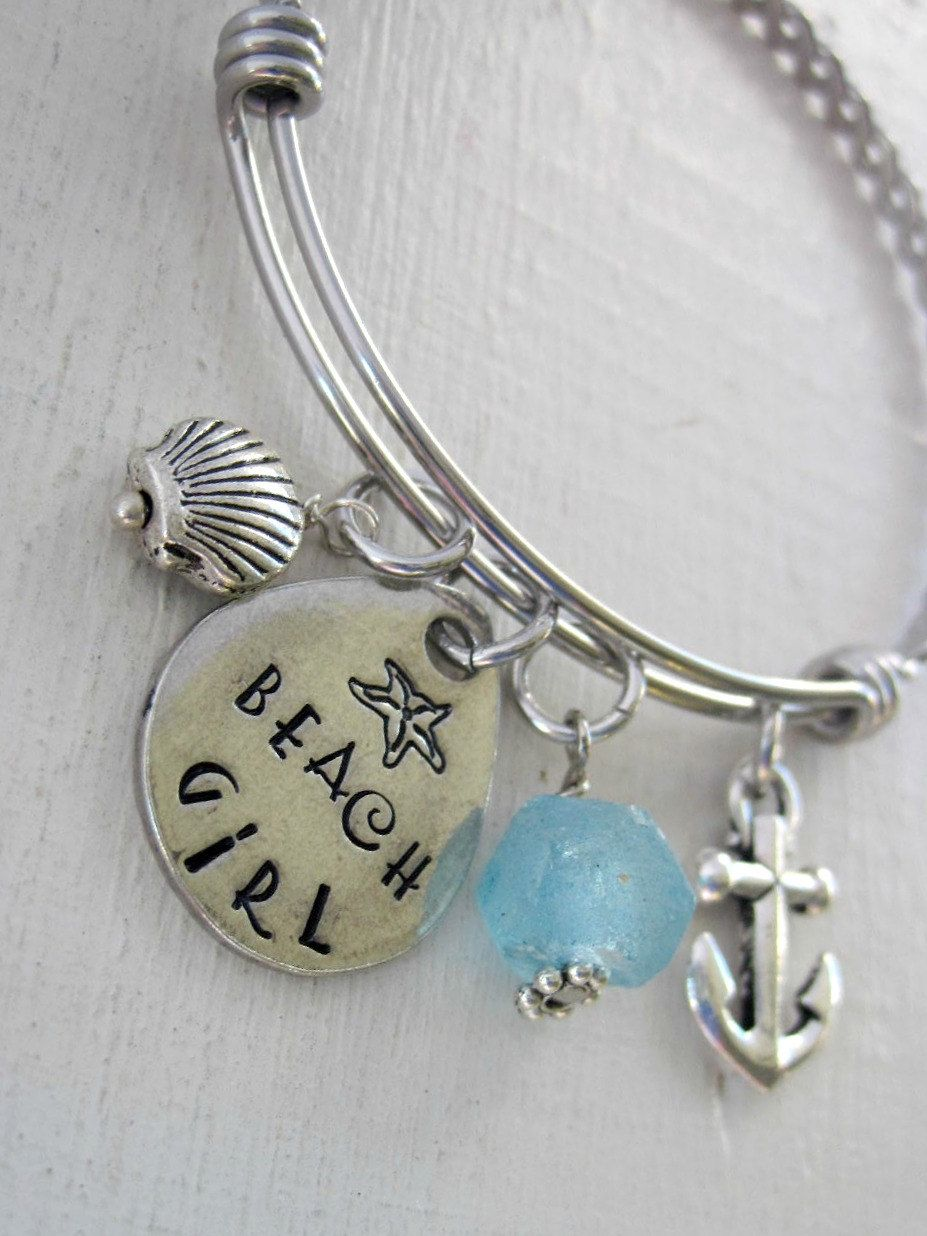 Expandable bangle bracelet beach girl bracelet anchor charmflip