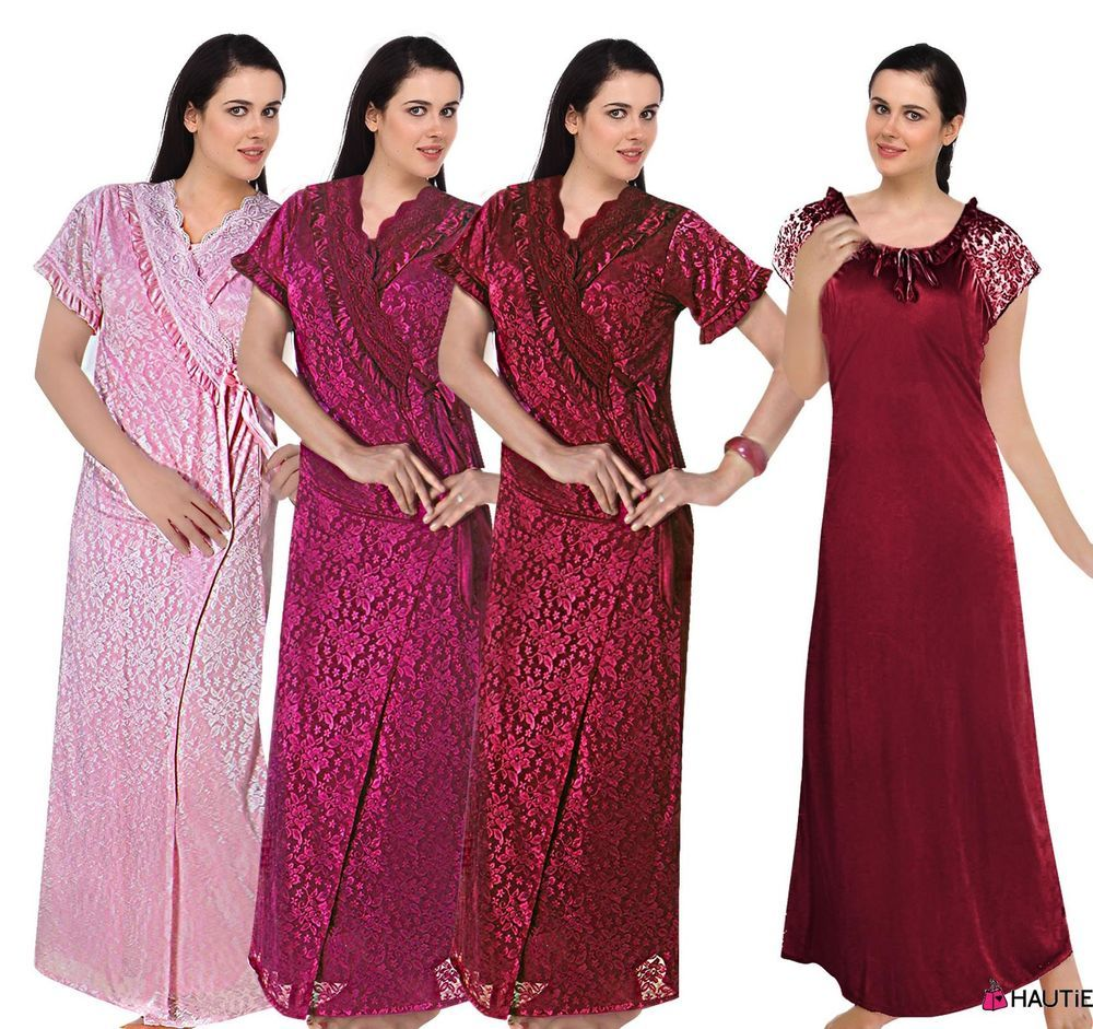b1b24d315e SEXY LADY SILK SATIN FULL LACE DRESSING GOWN BABYDOLL LADIES NIGHTIE in  Clothes