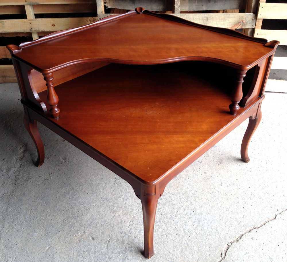 vintage imperial 2 tier corner end table solid wood mahogany mid century rare