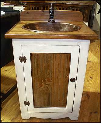 Website Picture Gallery Photo of Front View Country Bathroom Vanity Antique White Pine Cabinet with Copper Sink