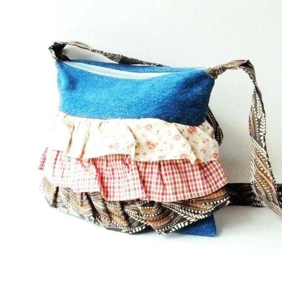 Denim Purse Handmade Recycled Handbags Ruffle Purses And Bags