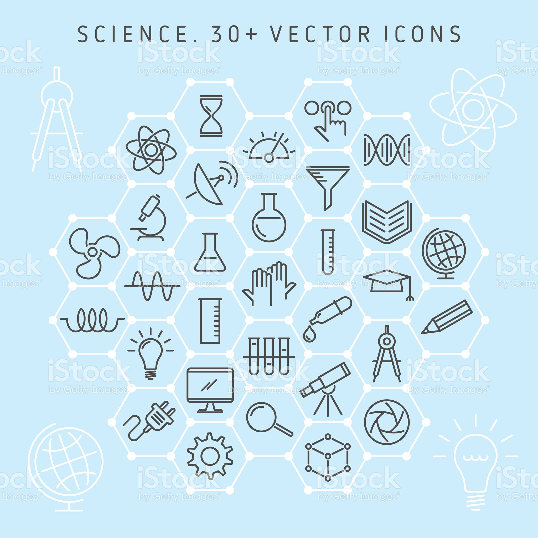 Vector line icon set of science lab and scientific
