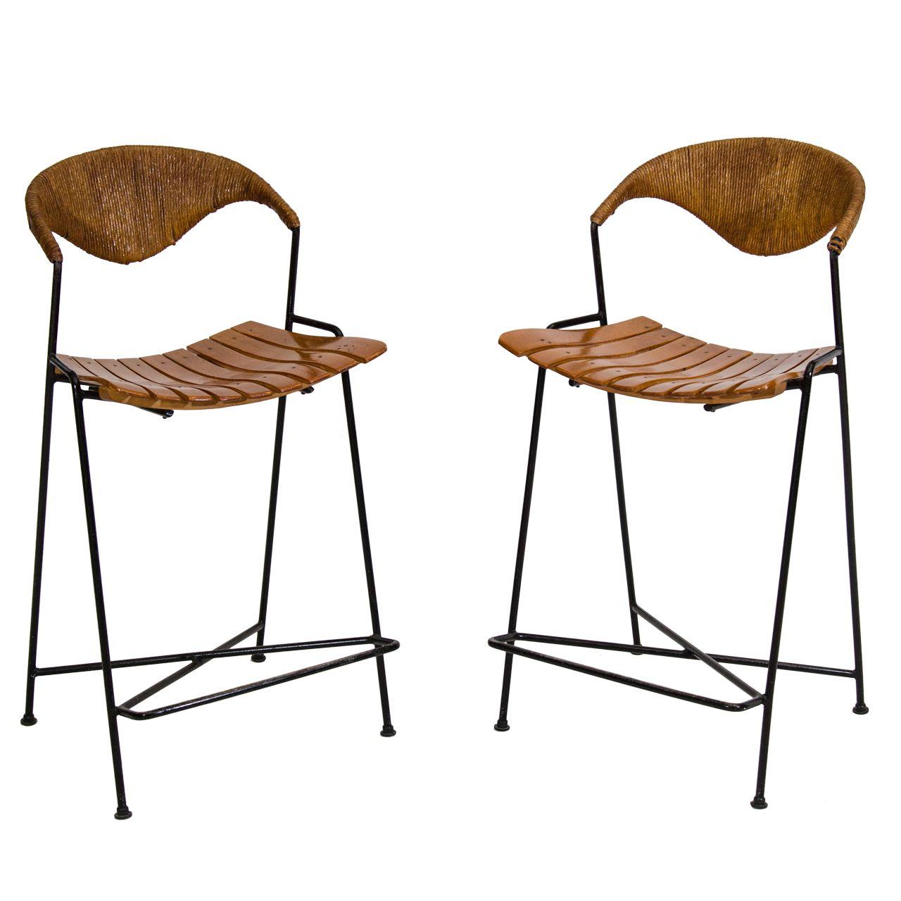 pair of arthur umanoff counter height bar stools counter height