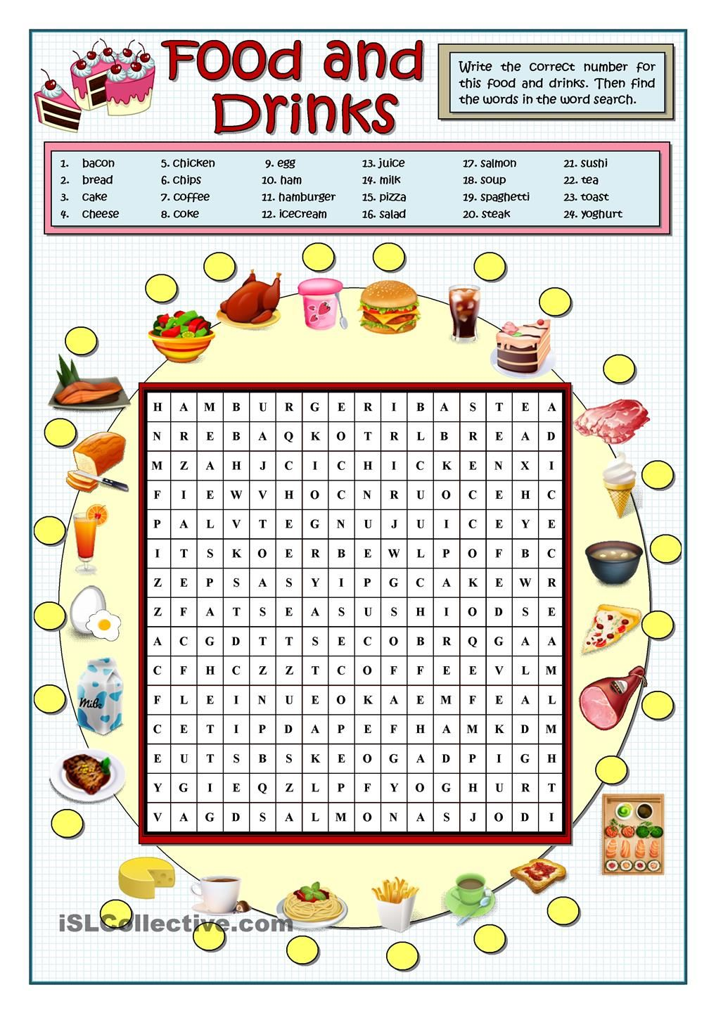 FOOD AND DRINKS WORDSEARCH | Teaching - worksheets | Pinterest ...