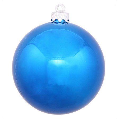 Vickerman 1575 inch Blue Shiny Ball Ornament with UV-Resistant